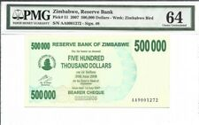 Zimbabwe 500 000 Dollars 2007 P51 Bearer Check Cheque UNC Inflation Currency