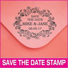 Personalized save-the-date self-inking stamp. Wedding and holiday stamp.