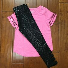 NWT JUSTICE GIRLS 12 OUTFIT~PINK SEQUIN TEE /LEOPARD STRAPPY LEGGINGS