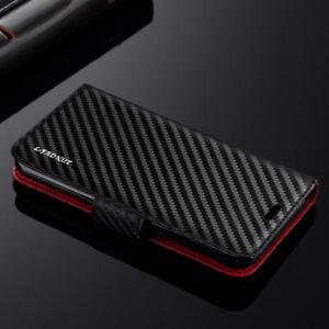 Samsung A12 A21S A32 A52 S21 S20 S10 Carbon Fibre Leather Wallet Flip Case Cover