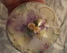 R. S. Prussia Covered Footed Trinket Box with Purple Flowers- Beautiful