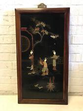 Antique Chinese Stone Inlaid Wood Panel 3 Women Tree Pot / Censer Decoration