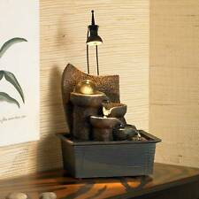 """Zen Indoor Tabletop Water Fountain with Light LED 10"""" Cascading for Table Desk"""