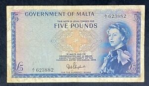 5 Pounds Government Of Malta Shepherd Queen Elizabeth II SAID 29 Banknote