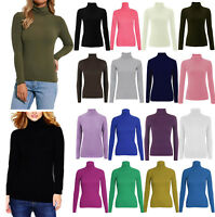 Ladies Plain Polo Top Women Winter Turtle Roll Neck Tunic Top Jumper 8-26