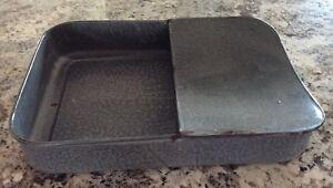 VTG/Antique Gray Speckled GRANITEWARE Fracture Bed Pan/Chamber Pot, Large