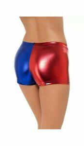 Ladies Harley Quinn Suicide Squad Harlequin Metallic Shiny Shorts