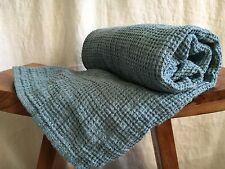 Leinen Waffelpique Handtuch Badetuch Saunatuch Stonewashed 75x130 cm Aqua