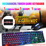 Gaming Tastatur Keyboard Maus Set Regenbogen Gamer RGB LED USB für Laptop PC