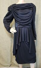1980's Black Cocktail Dress by Abby Kent Long Sleeve Halloweeen Sz 14, M/L