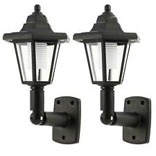More details for 2 x solar powered led outdoor garden fence wall lantern light lamp new