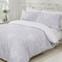 Duvet Set Cover - Double Bedset Cotton Polyester Grey Hearts Design Bedding Set