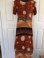 Dolina Womens Brown Knee Length Dress Summer Size 16 Tribal Print Side Splits