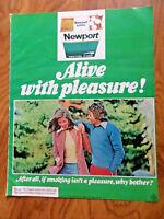 1973 Newport King Cigarette Ad  Alive With Pleasure