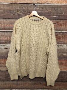 Highland Home Industries Ivory Wool Fisherman Turtleneck Sweater Scotland XL