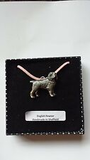 D5 Spaniel Motif Pewter  PENDENT ON A PINK CORD Necklace Handmade