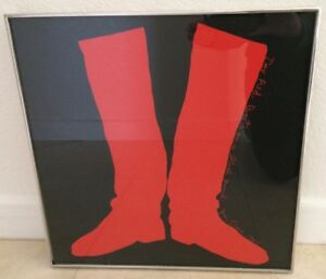 JIM DINE Original Screenprint Two Red Boots On A Black Ground 1965 Framed
