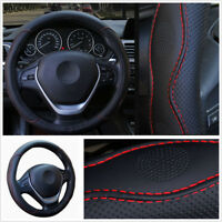 38cm Car Steering Wheel Cover Comfortable Durable PU Leather Black+Red 4 Seasons