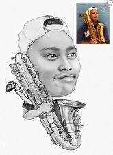 Saxophone Pencil Caricature Gift for Musician from Your Photos