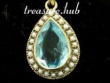 CP247- Stunning Genuine 9ct SOLID Gold X-LARGE Natural TOPAZ & PEARL Pendant