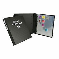 Stamp Collection Binder Kit, 10 Pages Included, Holds 200 Stamps - Black Diamond