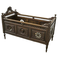 Antique Crib, Child's Bed, French Breton, Carved Oak, 1800s, Gorgeous!!