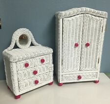 Pink/White Rattan CLOSET & DRESSER SET for American Girl Doll's Clothes
