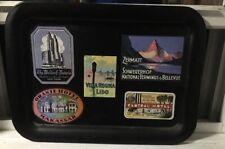 Vintage painted metal tray decoupage travel luggage sticker design
