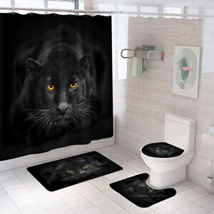 Black Panther Shower Curtain Bathroom Rug Set Bath Mat Non-Slip Toilet Lid Cover