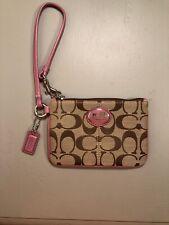 Small Coach Wristlet Pink & Light Brown