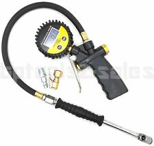 LCD Digital Pressure Gauge Valves Tire Inflar Dial Dual Chuck Clip-On 0-255 PSI