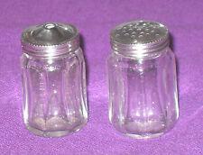 Art Deco 1930s Sterling Silver & Glass Miniature Salt & Pepper Shakers Antique