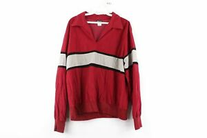 Vintage 60s JCPenney Mens Medium Color Block Long Sleeve Velour Polo Shirt Red