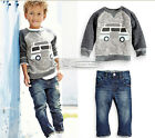 Outfit New Autum 2Pcs Baby boy Long Sleeve T-shirt Jeans fit 2-6 years old