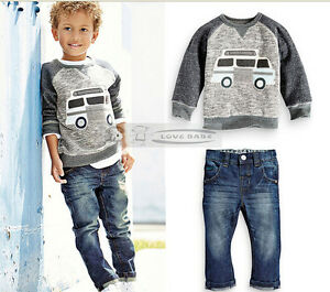 Outfit New Autum 2Pcs Baby boy  Long Sleeve T-shirt +Jeans fit 2-6 years old