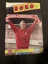 1991 Middlesbrough V Manchester City Football Programme LCUP