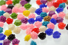 50 Tiny Resin Rose Beads or Cabochons 10mm diameter mixed colors cab0252