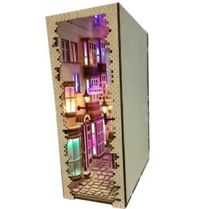 Harry Potter Diagon Alley Wooden Bookends Book Nook Building DIY KIY With Light
