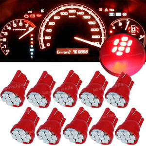 10PCS Red 8SMD168 T10 Wedge Gauge Cluster instrument Panel Speed Light LED Bulbs