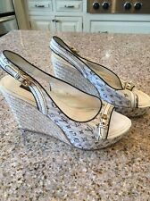 Louis Vuitton rope wedge sandals sz 40 with platform, logo canvas fabric uppers