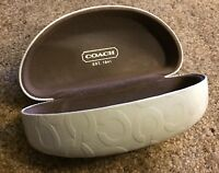 COACH White Clam Shell Sunglass Hard Case With Brown Lining