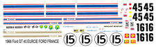 1966 Ford GT40 #15 - #16 - #45 1/64th HO Scale Slot Car WATERSLIDE DECALS