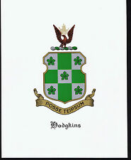 HODGKINS Coat of Arms & Family Crest - Vintage Print