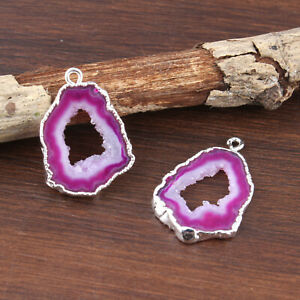 Tiny Natural Pink Geode Slice Druzy Silver Plated DIY Earring Pair Connectors