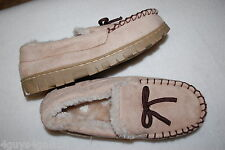 Womens Slippers BEIGE MOCCASINS Faux Fur Lined RUBBER SOLES In / Outdoor S 6-7