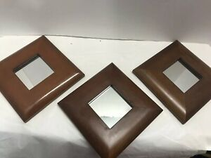 """Vintage Wood Framed Mirror Trio Set Tiny Accent Mirrors 6"""" Across Set Of 3"""