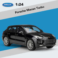 WELLY 1:24 Scale Porsche Macan Turbo Black Diecast Model Car Gift Toy New in Box