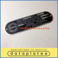 DODGE CHRYSLER CORPORATION TRUCKS DATA PLATE 1948 - 1951 POWER WAGON ID TAG T137