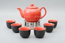 Teeservice / Teeset 8-teilig Malika in rot mit Edelstahlsieb 1,2l und Stövchen
