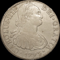 1793 MEXICO 8 REALES  ~ CHARLES IV ~ Silver ~ Mexico City Mint ~ XF Condition
